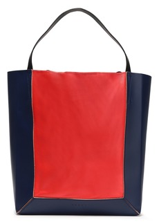 Marni Woman Shopper Two-tone Leather Tote Tomato Red