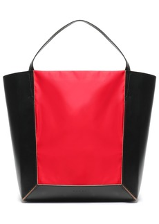 Marni Woman Shopper Two-tone Shell-paneled Leather Tote Red