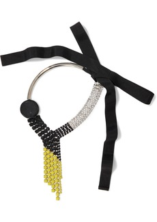 Marni Woman Silver-tone Crystal Acetate And Grosgrain Necklace Black