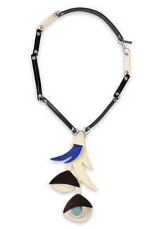 Marni Woman Silver-tone Suede And Patent-leather Necklace Black