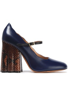 Marni Woman Snake-effect And Smooth-leather Mary Jane Pumps Navy