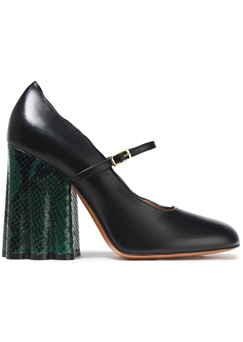 Marni Woman Smooth And Snake-effect Leather Mary Jane Pumps Black
