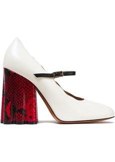 Marni Woman Smooth And Snake-effect Leather Mary Jane Pumps Cream