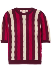 Marni Woman Striped Cable-knit Wool Top Burgundy