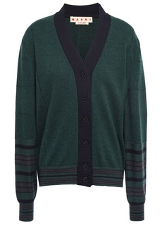 Marni Woman Striped Cashmere And Wool-blend Cardigan Emerald