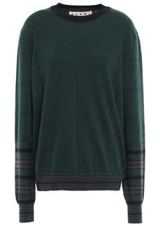 Marni Woman Striped Cashmere And Wool-blend Sweater Dark Green
