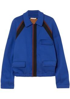 Marni Woman Striped Cotton-blend Jersey Jacket Royal Blue