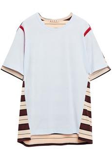 Marni Woman Striped Cotton-jersey T-shirt Sky Blue