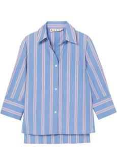Marni Woman Striped Cotton-poplin Shirt Light Blue