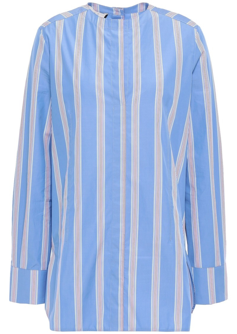 Marni Woman Striped Cotton-poplin Shirt Light Blue