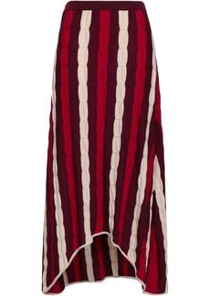 Marni Woman Striped Crochet-knit Wool Midi Skirt Brick