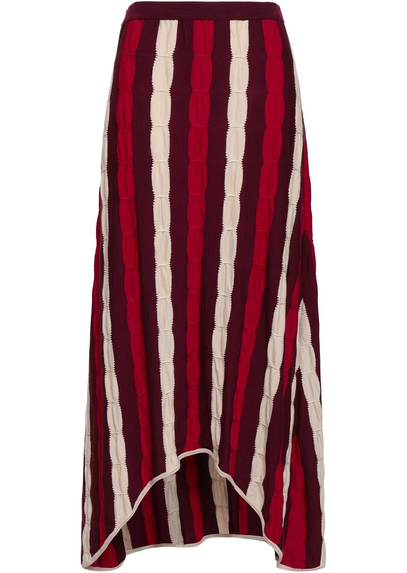 Marni Woman Striped Crochet-knit Wool Midi Skirt Brick