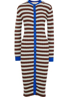 Marni Woman Striped Ribbed Cotton-blend Cardigan Brown