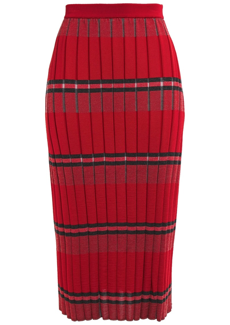 Marni Woman Striped Ribbed-knit Midi Pencil Skirt Red