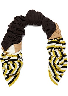 Marni Woman Striped Ribbed Wool Scarf Brown