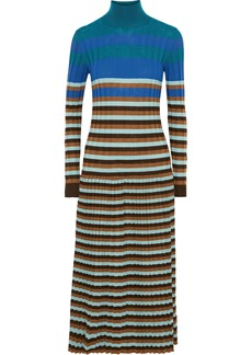 Marni Woman Striped Ribbed Wool Turtleneck Midi Dress Blue