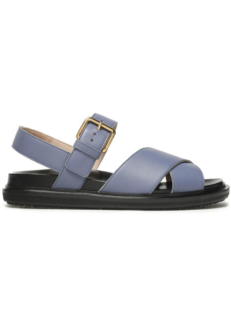 Marni Woman Textured-leather Slingback Sandals Light Blue