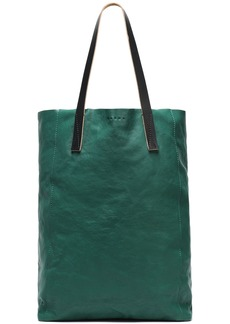 Marni Woman Textured-leather Tote Emerald