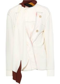 Marni Woman Tie-neck Button-detailed Crepe De Chine Blouse Ivory