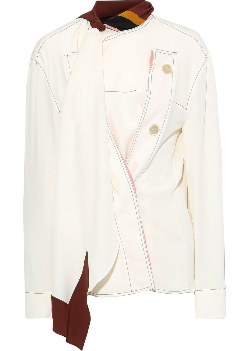 Marni Woman Tie-neck Button-detailed Crepe De Chine Blouse Ivory
