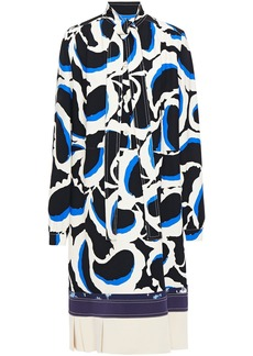 Marni Woman Tie-neck Paneled Printed Crepe Dress Off-white