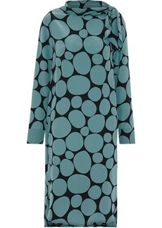 Marni Woman Tie-neck Printed Silk Crepe De Chine Dress Teal