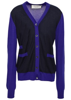 Marni Woman Two-tone Cashmere Cardigan Indigo