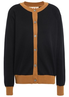 Marni Woman Two-tone Cotton Cardigan Black