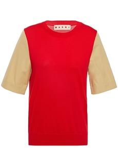 Marni Woman Two-tone Poplin-paneled Cotton Top Red