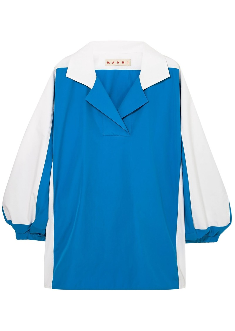 Marni Woman Two-tone Cotton-poplin Shirt White