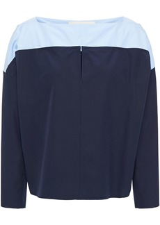 Marni Woman Two-tone Cotton-poplin Top Midnight Blue