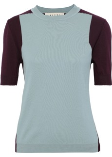 Marni Woman Two-tone Cotton Top Sky Blue