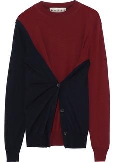 Marni Woman Two-tone Layered Wool Sweater Burgundy