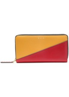 Marni Woman Two-tone Leather Continental Wallet Claret