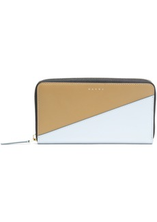 Marni Woman Two-tone Leather Continental Wallet Stone