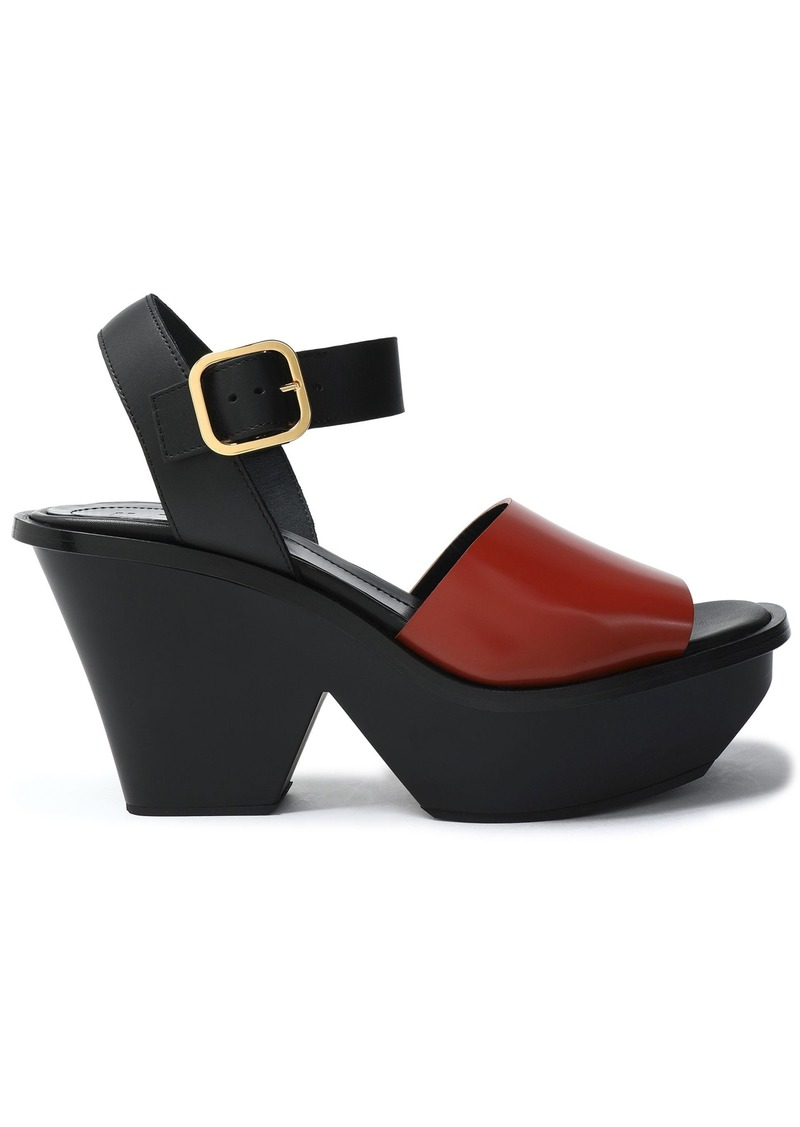 Marni Woman Two-tone Leather Platform Sandals Brick