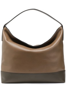Marni Woman Two-tone Leather Tote Taupe