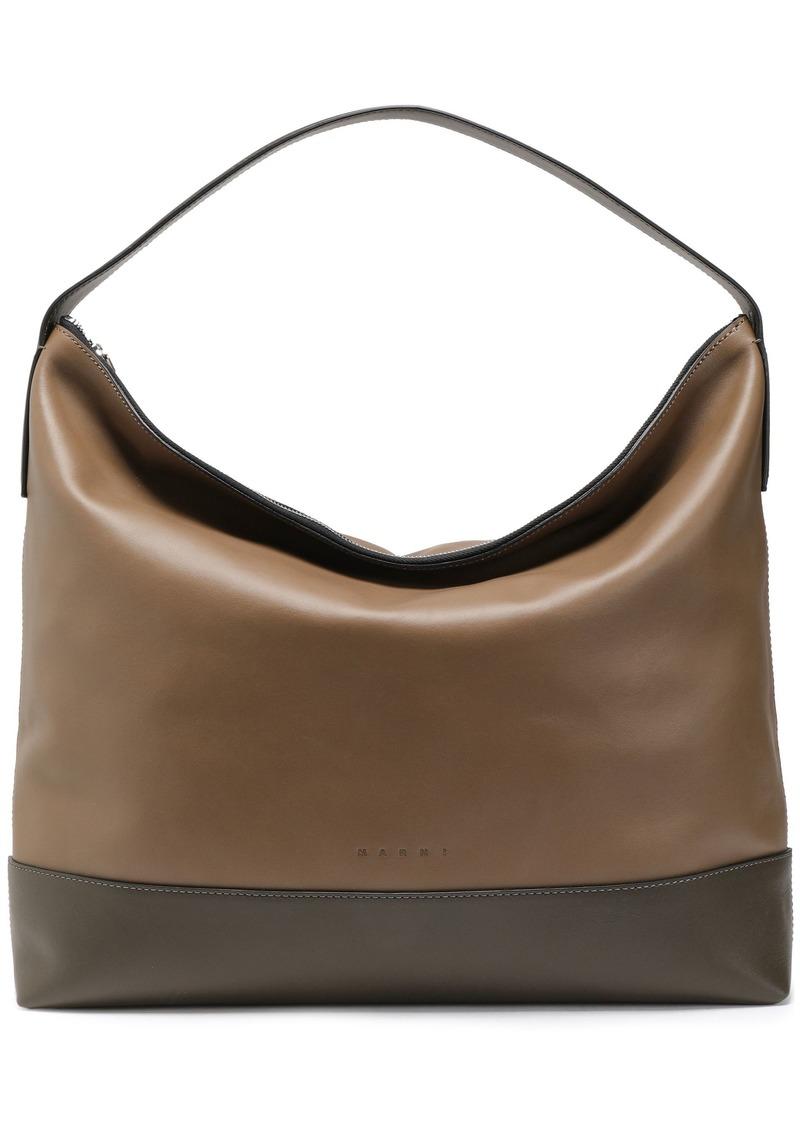 Marni Woman Two-tone Leather Tote Taupe