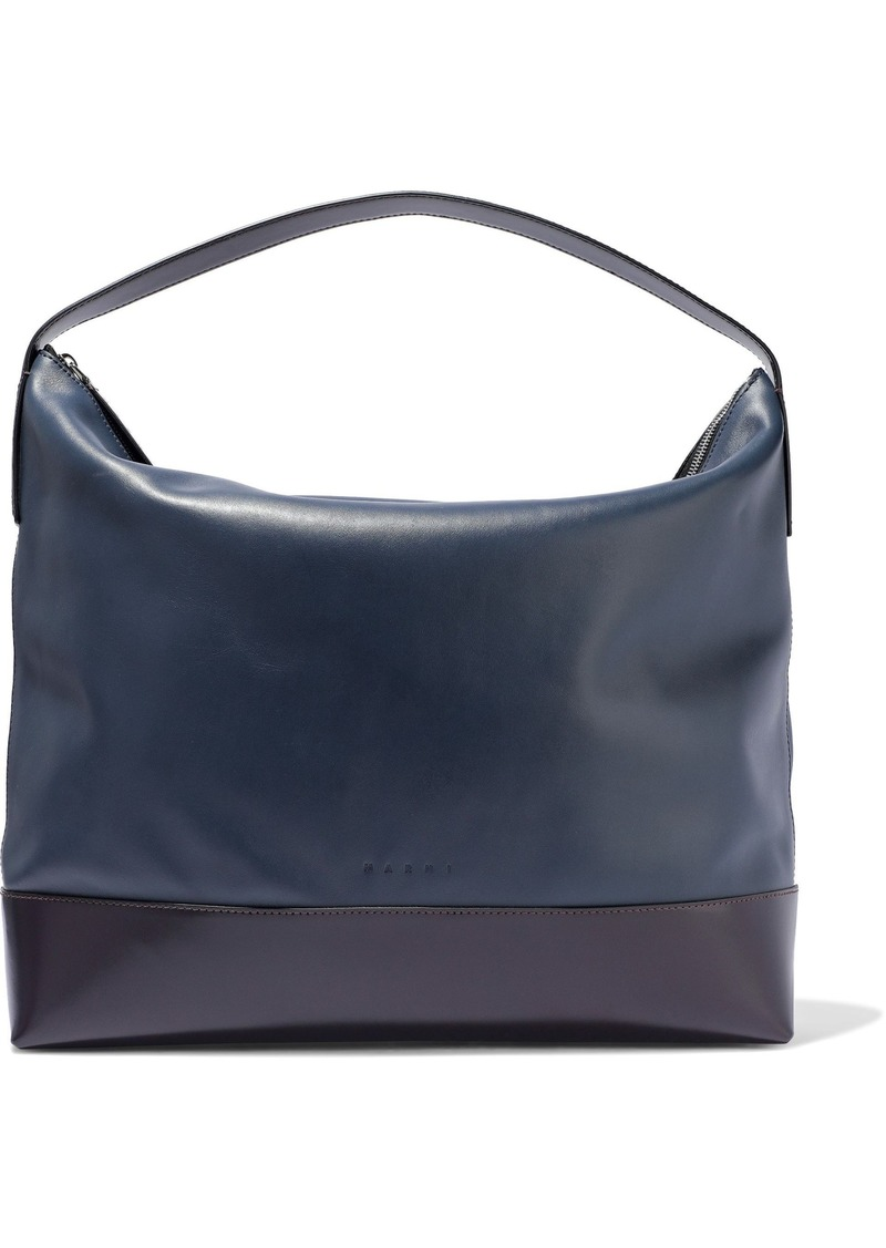 Marni Woman Two-tone Leather Tote Navy