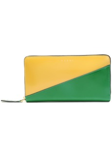 Marni Woman Two-tone Patent-leather Continental Wallet Green