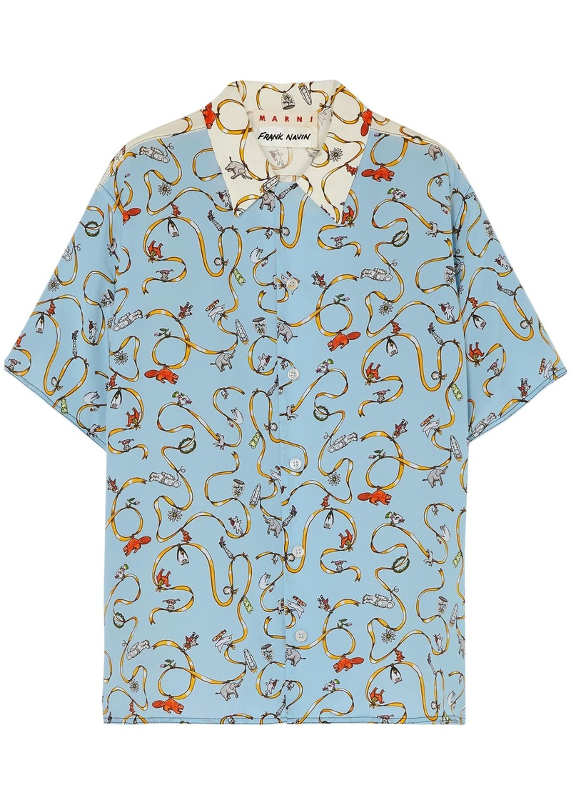 Marni Woman Two-tone Printed Silk Crepe De Chine Shirt Light Blue