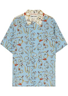 Marni Woman Two-tone Printed Silk Crepe De Chine Shirt Light Blue