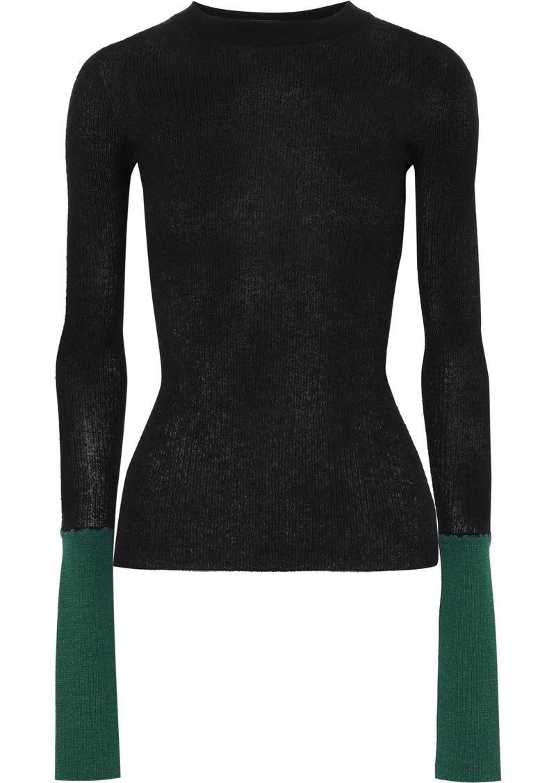 Marni Woman Two-tone Ribbed-knit Top Black