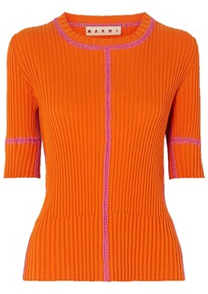 Marni Woman Whipstitched Ribbed Cotton Top Orange