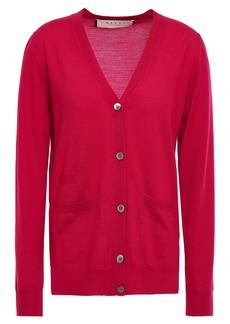 Marni Woman Wool And Silk-blend Cardigan Crimson