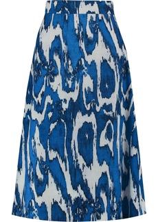 Marni Woman Printed Wool And Silk-blend Crepe Skirt Royal Blue