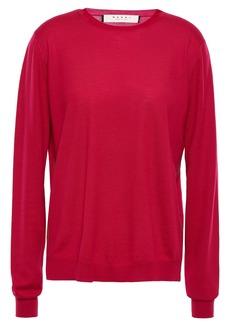Marni Woman Wool And Silk-blend Sweater Crimson