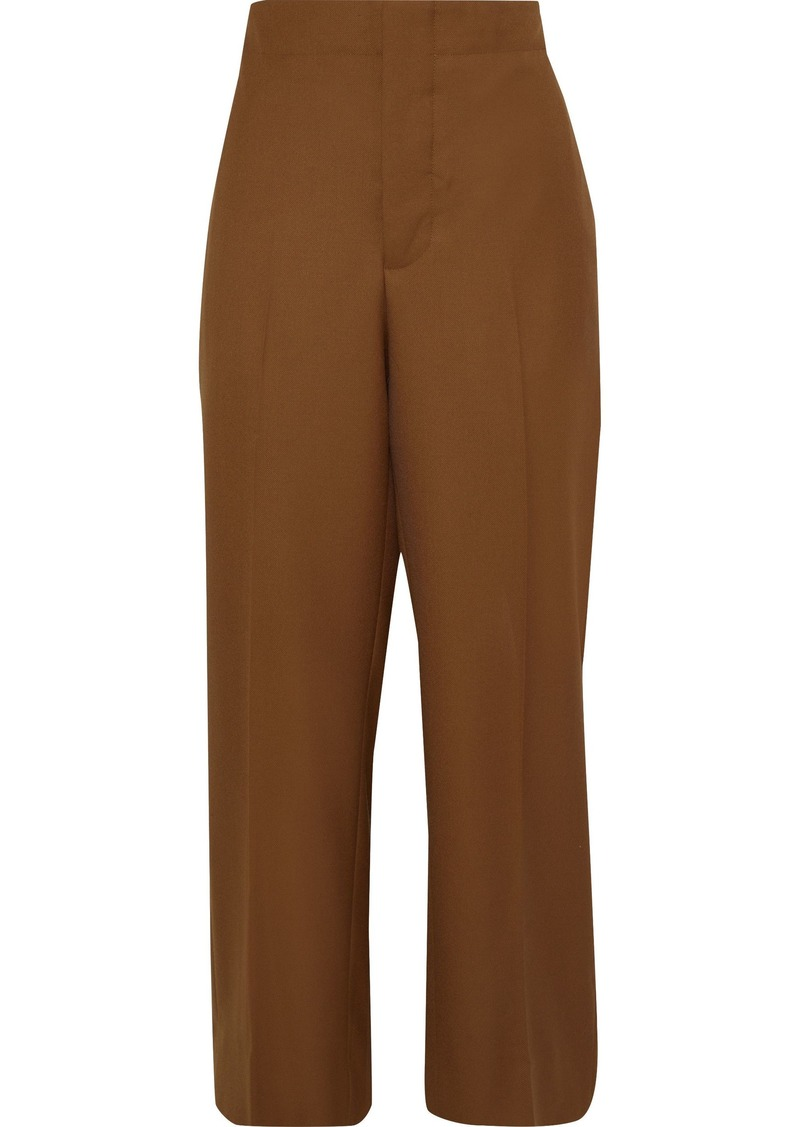 Marni Woman Cropped Wool-twill Straight-leg Pants Light Brown