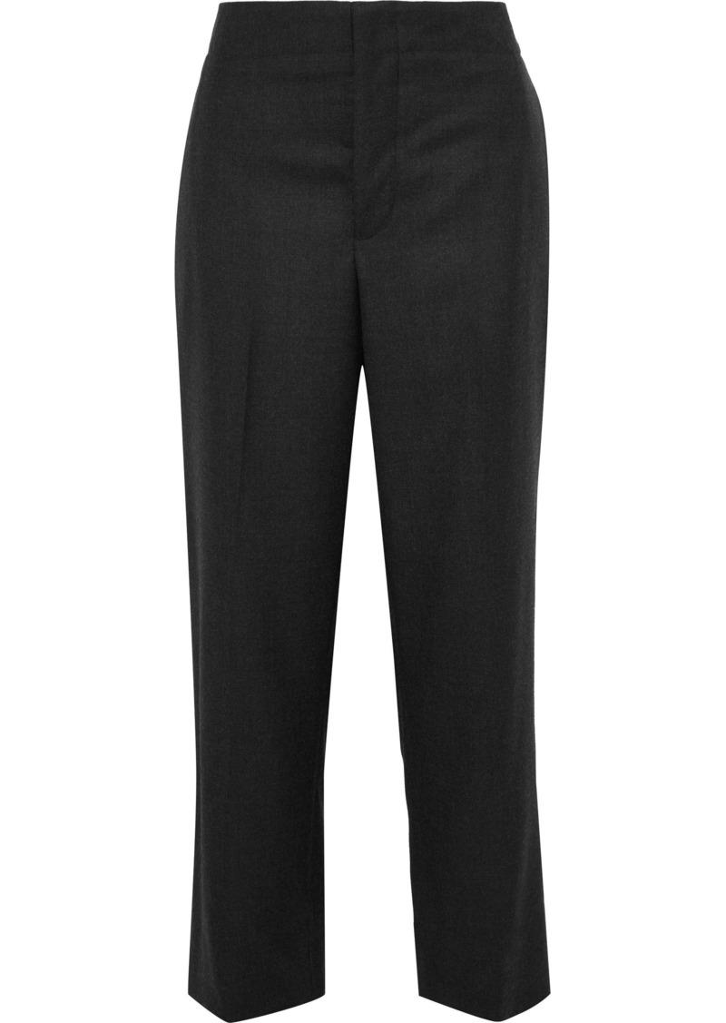 Marni Woman Cropped Wool-twill Straight-leg Pants Charcoal