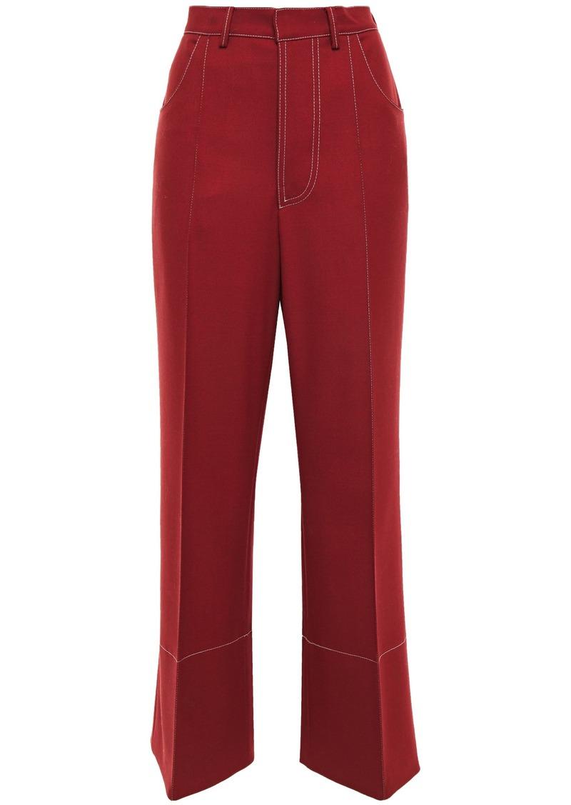Marni Woman Wool-twill Wide-leg Pants Brick